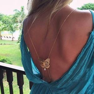 🦋 butterfly body jewelry gold chain
